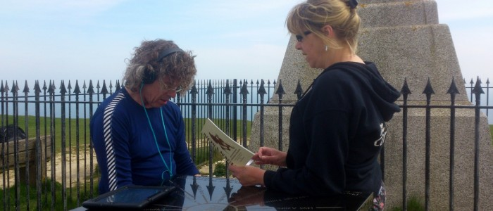 Richard recording Jeni reading Tennyson on the Trail (1280x720)