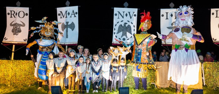 Brading - Dark Nights Illuminated Parade and Performance at Brading Roman Villa.